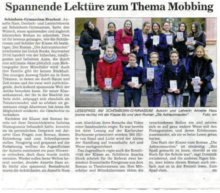 Zeitungsausschnitt,Hass_BNN,Diesntag, den 10.03.2015
